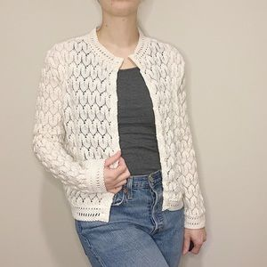 Vintage White Knit Scalloped Cardigan Sweater 40's